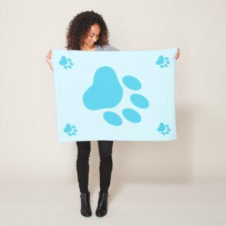 青い犬の足のシルエット フリースブランケット