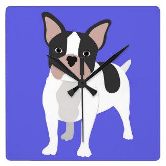 青い犬 スクエア壁時計