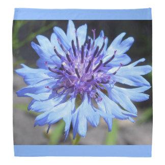 青い独身のボタンの花柄のバンダナ バンダナ