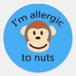 青い猿のステッカーのアレルギー警報 ラウンドシール