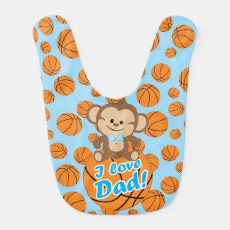 青い猿I愛パパのバスケットボールのよだれかけ ベビービブ