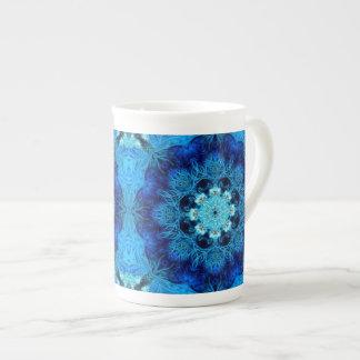 青い珊瑚の抽象芸術のジャンボマグ ボーンチャイナカップ