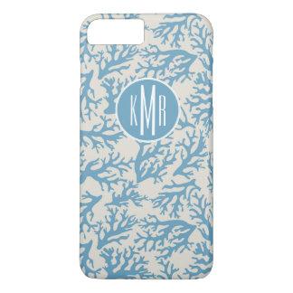 青い珊瑚パターン|モノグラム iPhone 8 PLUS/7 PLUSケース