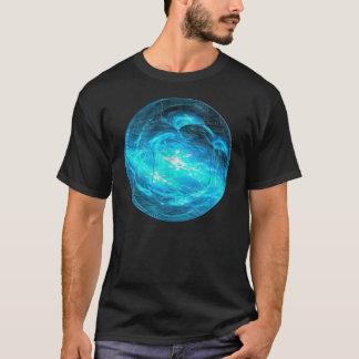 青い球体のフラクタルの渦巻 Tシャツ