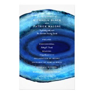 青い瑪瑙の結婚式プログラム チラシ