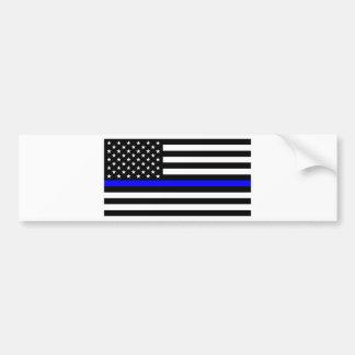 青い生命問題-米国の旗の警察はブルーラインを薄くします バンパーステッカー