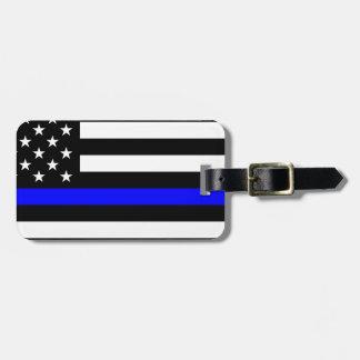 青い生命問題-米国の旗の警察はブルーラインを薄くします ラゲッジタグ