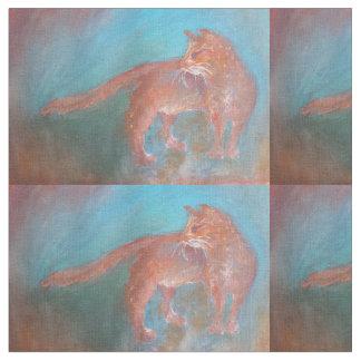 青い生地の赤いオレンジ猫 ファブリック