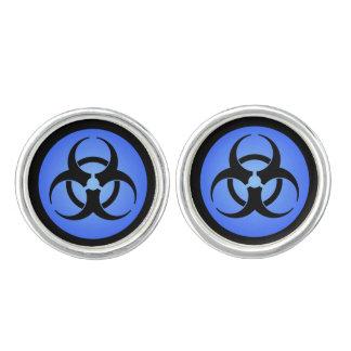 青い生物学的災害[有害物質]の記号 カフスボタン