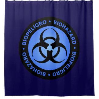青い生物学的災害[有害物質]の警告標識 シャワーカーテン