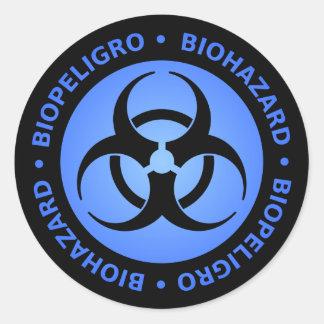 青い生物学的災害[有害物質]の警告 ラウンドシール