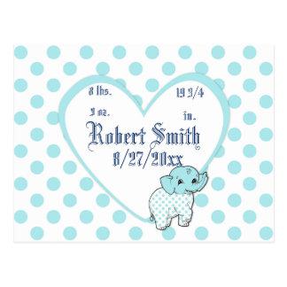 青い男の赤ちゃん象のハートおよび水玉模様 ポストカード