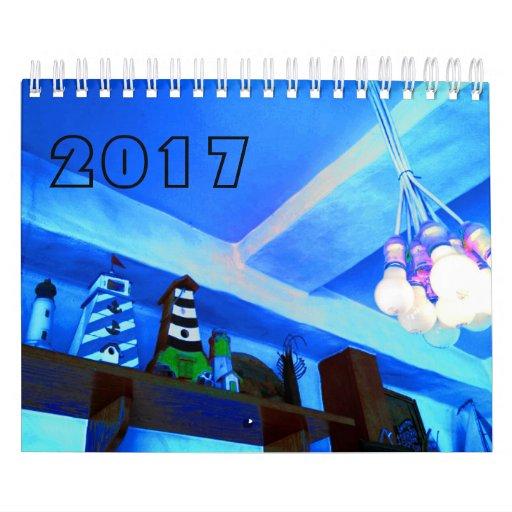 青い画像カレンダー2017