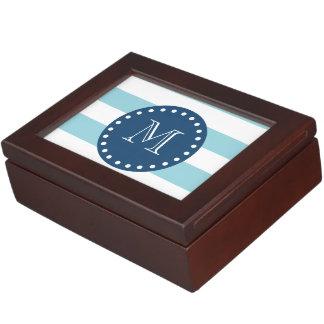 青い白のストライプパターン、濃紺のモノグラム ジュエリーボックス