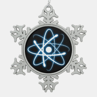 青い白熱原子のおたくのオーナメント スノーフレークピューターオーナメント