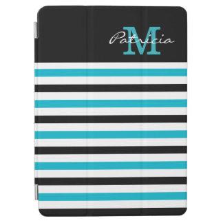 青い白黒のストライプのカスタムのモノグラム iPad AIR カバー