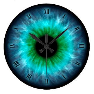 青い目のアイリス眼球の柱時計 ラージ壁時計