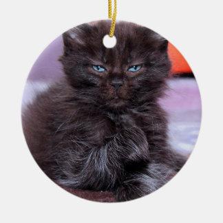 青い目のオーナメントを持つ黒猫 セラミックオーナメント