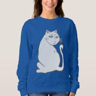 青い目の女性のスエットシャツを持つ白い猫 スウェットシャツ