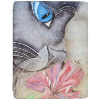 青い目の猫および花 iPadスマートカバー