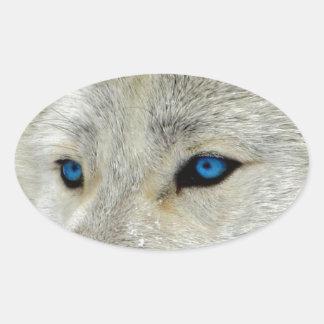 青い目の白いオオカミ 楕円形シール