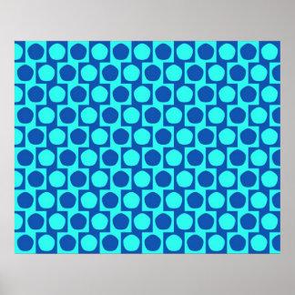 青い目の錯覚のカフェのウォール効果の五角形 ポスター