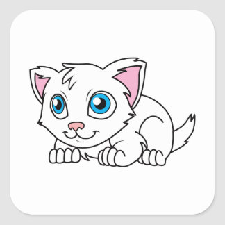 青い目を持つ幸せでかわいく白いペルシャ スクエアシール