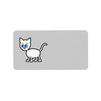 青い目を持つ白い猫 ラベル