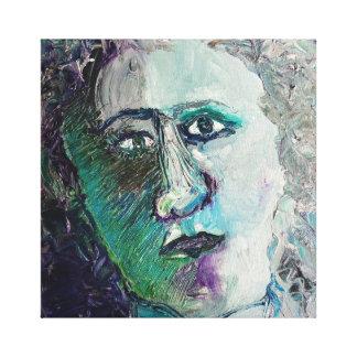 青い直面された女性 キャンバスプリント