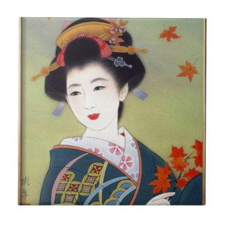 青い着物の日本のな女性 タイル