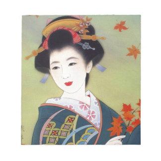 青い着物の日本のな女性 ノートパッド