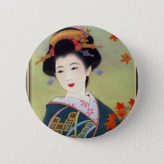 青い着物の日本のな女性 5.7CM 丸型バッジ