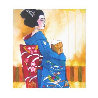 青い着物を持つ日本のな芸者 ノートパッド