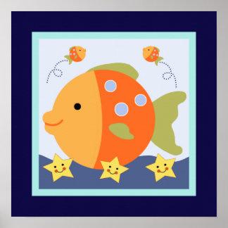 青い礁湖またはクジラまたはタツノオトシゴポスター壁の芸術 ポスター
