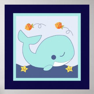 青い礁湖またはクジラまたは魚のタツノオトシゴポスター壁の芸術 ポスター