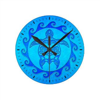 青い種族のカメ日曜日 ラウンド壁時計