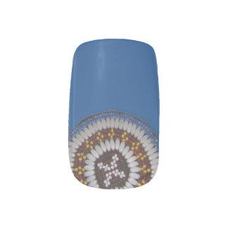 青い種族のビーズのGulの円形浮彫りのMinxのネイルアート ネイルアート