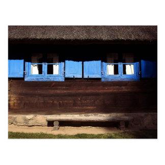 青い窓シャッター-郵便はがき ポストカード