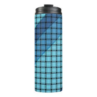 青い篭織模様のタンブラーの陰 タンブラー