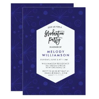 青い紙吹雪の卒業パーティーカード 12.7 X 17.8 インビテーションカード