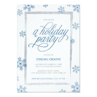 青い紙吹雪の雪片及び白い休日のパーティ カード