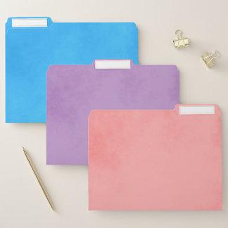 青い紫色およびピンクのカラフル ファイルフォルダー