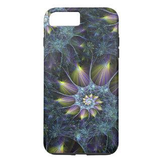 青い紫色のオウムガイの螺線形の花のフラクタルパターン iPhone 8 PLUS/7 PLUSケース