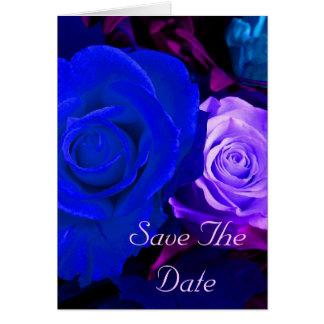青い紫色のバラの保存日付 グリーティングカード