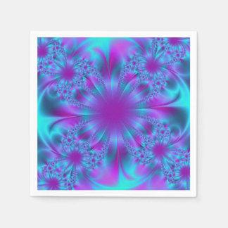 青い紫色のフラクタルの絵 スタンダードカクテルナプキン