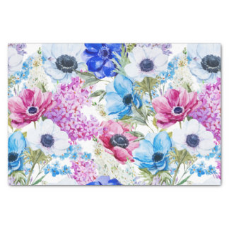 青い紫色の手塗りの水彩画の花柄パターン 薄葉紙