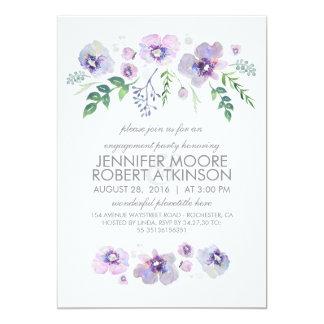 青い紫色の水彩画によっては婚約パーティが開花します カード