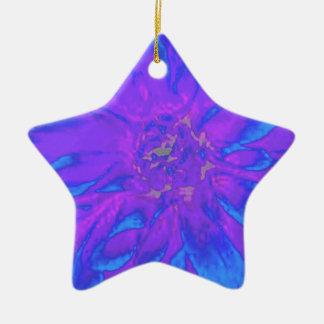 青い紫色の花のダリアの花模様 陶器製星型オーナメント