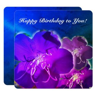 青い紫色の花のハッピーバースデーの挨拶状 カード