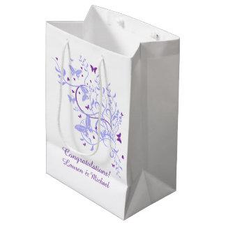 青い紫色の蝶結婚式 ミディアムペーパーバッグ